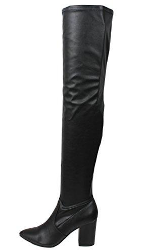 Heerlijke Dames Puntige Teen Over De Knie Hoge Hak 3 1/4 Laars (zwart Pu, 8.5 B (m) Ons)