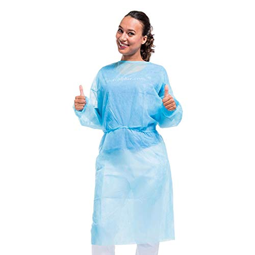 Medint Disposable Blue Isolation Gown - First Aid, Medical, Dental Duty Gowns - Fluid Resistant Clothing for Doctors, Nurse, Adults, Men, Women - No Latex Lab and Hospital Supplies - Large, Pack of 10 by MEDINT