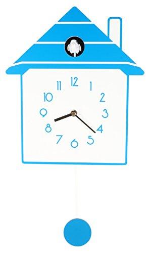 (JUSTIME Stylish Creative Modern Slow Swing Non-ticking Pendulum Wood Cuckoo Wall Clock, Home Wall Decor)