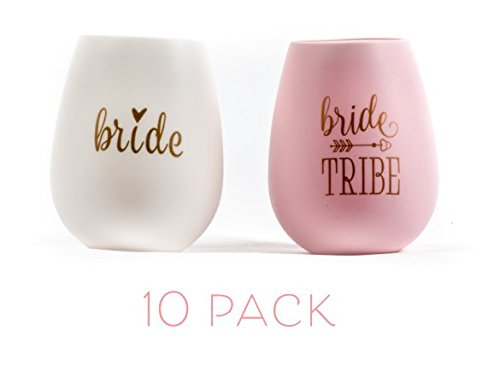 10 piece set of Bride Tribe and Bride Silicone Wine Cups, Perfect for Bachelorette Parties, Weddings, and Bridal Showers - Pink by Samantha Margaret