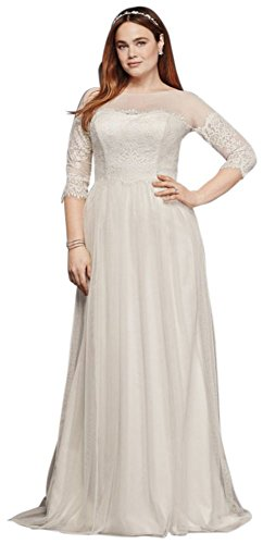 Plus Size Wedding Dress with Lace Sleeves Style 9WG3817, White, 18W