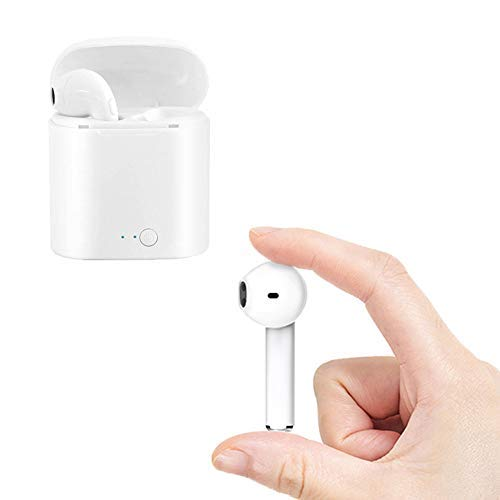 Wireless Bluetooth Earbuds, White Headphones with Built-in mic Noise-canceling Stereo Headset with Carrying Charging case for iOS/Samsung/Android