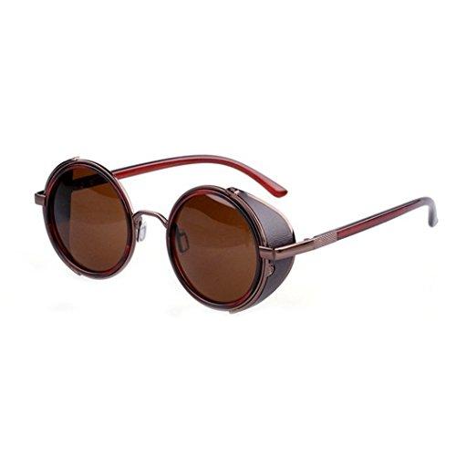 eshion summer Unisex Round Mirror Polycarbonate - Steampunk Round Sunglasses
