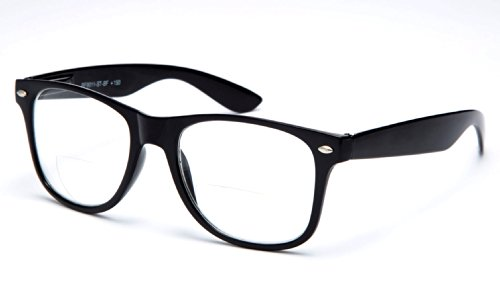 IG Wayfarer Style Comfortable Stylish Simple BiFocal Reading Glasses w/ Spring Temple in Black / Strength - Mens Styles 2014 Glasses