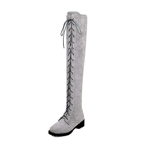 duri duri duri Stivali Donna da Elastici sopra Boots Boots Boots Ginocchio Alti Tacchi Women's Grey Il xqwfEBXB