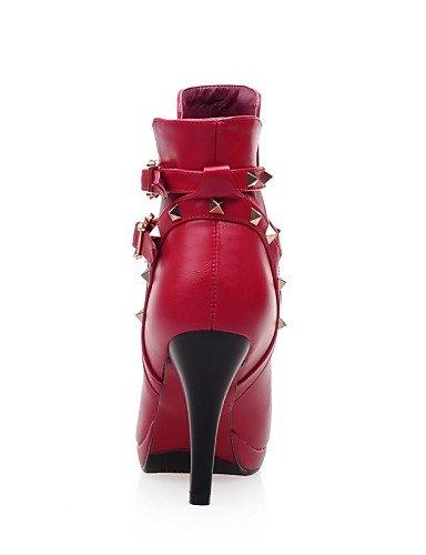 XZZ  Damenschuhe Damenschuhe Damenschuhe - Stiefel - Kleid   Lässig - Kunstleder - Stöckelabsatz - Plateau   Spitzschuh   Modische Stiefel - Schwarz   Rot B01L1GQZG4 Sport- & Outdoorschuhe Einzelhandelspreis def4a2