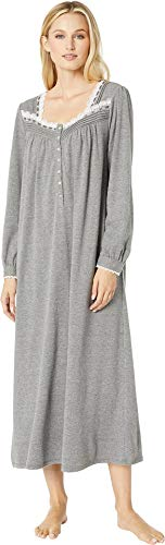 Eileen West Cotton Interlock Long Sleeve Ballet Nightgown (5519938) S/Solid Charcoal (Pintucked Nightgown)