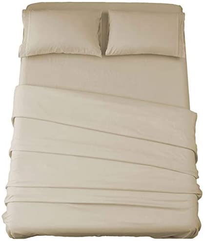 Sonoro Kate Bed Sheet Set Super Soft Microfiber 1800 Thread Count Luxury Egyptian Sheets 16-Inch Deep Pocket,Wrinkle and Hypoallergenic-4 Piece (Beige, Queen)