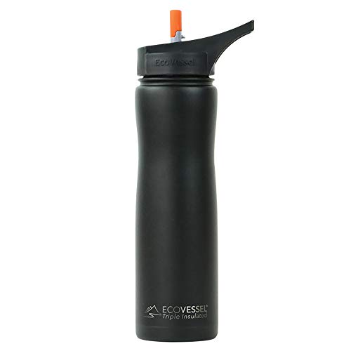 EcoVessel Summit TriMax Triple Insulated Stainless Steel Water Bottle with Flip Straw - 24 Ounces