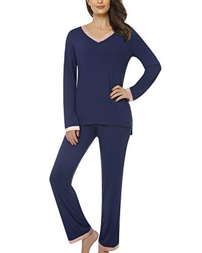 Suzicca Women's Pajamas Soft Long Sleeve Shirt and Long Pajama Pants Sleepwear PJ Set Blue XX-Large (Pants Pajamas Shirt)