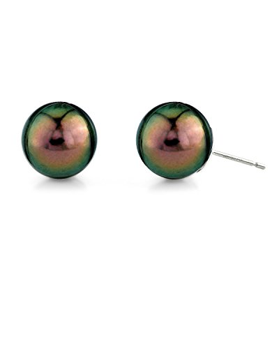 Sea Round Pearl Green South (THE PEARL SOURCE 14K Gold 10-11mm Round Ultra Peacock Green Tahitian South Sea Cultured Pearl Stud Earrings for Women)