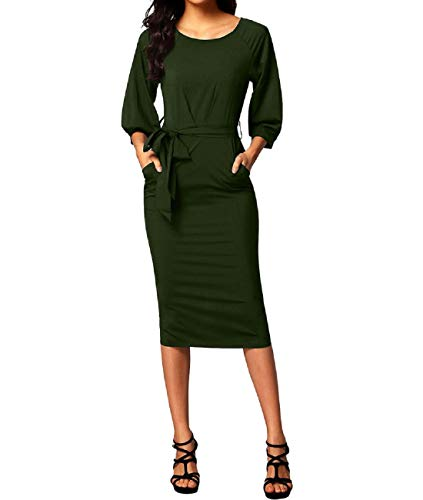 (MuCoo Women's Sexy Puff 3/4 Sleeve Back Slit Chiffon Cocktail Party Pencil Dress Green S)