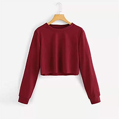 Xinantime Womens Long Sleeve Shirts Casual O Neck Solid Sweatshirt Pullover Tops Blouse: Clothing
