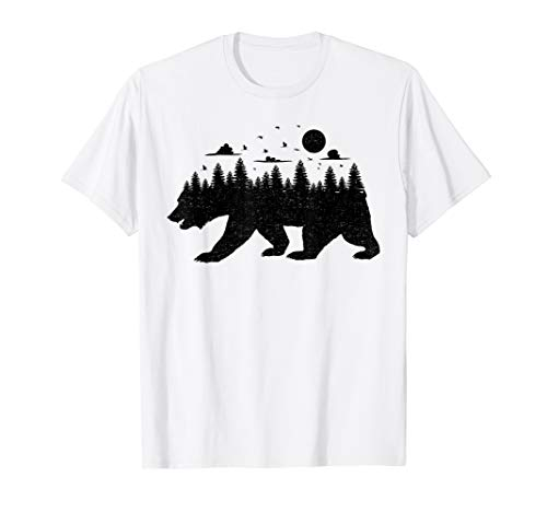 (Bear Forest T Shirt Grizzly Silhouette Motif Nature Fusion)
