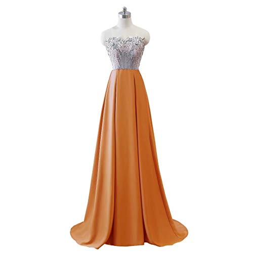 Kleider Lange Frauen V Formale Abendkleid Orange Party Ausschnitt Doppel Mermaid 5qOqp8