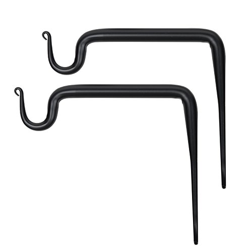 Wallniture Wall Mounted Wrought Iron Bracket - Hook for Hanging Planters Flower Pots and Lanterns 6 Inch Black Set of 2 ()