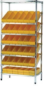 Quantum Storage Systems, Slanted Wire Shelving With Euro Bins 21 X 36 X 72, Wrs-7-606, Shelf Size: 21 X 36, Bin Description L X W X H: (24) 17 5/8 X 8 3/8 X 4 5/8, Color: Blue, Wrs-7-606