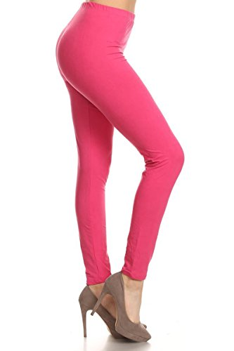 - LDX128-Fuchsia Basic Solid Leggings, Plus Size