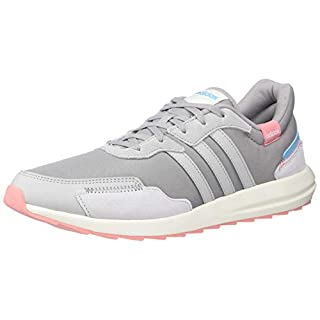 adidas Women's Retrorun Sneaker, Light Granite/Grey/Bright Cyan, 8 M US
