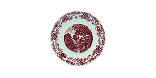 Estojo com 6 pratos sobremesa. Modelo redondo izabel. Decoração paisagem marrom. Porcelana real by porcelana schmidt.