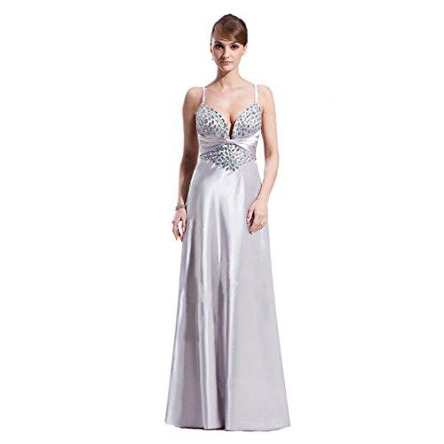 StarGirl Custom Made Womens A-Line Princess Sweetheart Sweep Train Charmeuse Prom Dress With Ruffle Beading Silver Size 16 ()