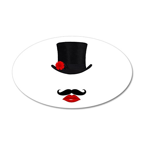 (CafePress - Mod Top Hat Lady with Mustache 35X21 Oval Wall Dec - 35x21 Oval Wall Decal, Vinyl Wall Peel, Reusable Wall Cling)