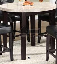 Round Counter Height Table with Marble Top in Espresso Finish by Furniture of America (Marble Espresso Top)