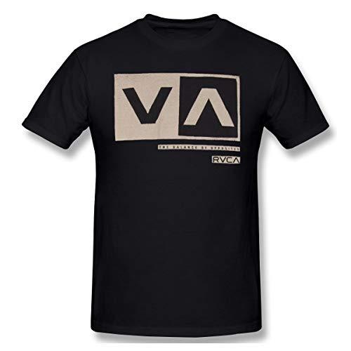 GRACE Men's RVCA Cut Out Box Fashion T-Shirts Black 3XL with Short Sleeve