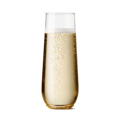 TOSSWARE 9oz Flute - recyclable champagne plastic cup - SET OF 12 - stemless, shatterproof and BPA-free flute glasses]()