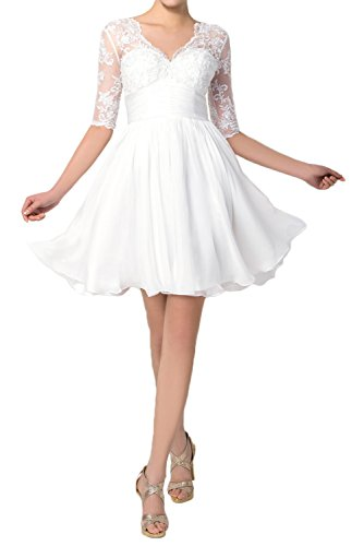 TOSKANA BRAUT Halbarm Traumhaft Abendkleider Kurz Chiffon Spitze Braut Cocktail Party Ball Hochzeitskleider