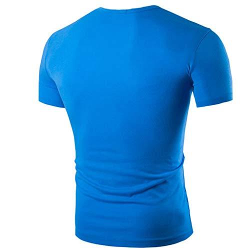 Del T Di Mens Tops Blouse Personalità Button shirt Shirt Lettera Modo Manica Blu Corta Kobay qtpfwxvAt