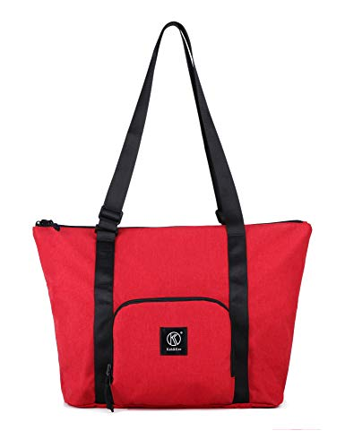 - Kah&Kee Foldable Travel Duffle Bag Tote Carry on Luggage Packable Waterproof Anti-Theft Hidden Pocket in Trolley Handle (Red)