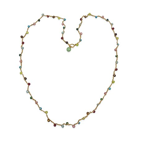 BjB Multi-Gem Stone Hand Beaded Crocheted Long Lariat Y Versatile Necklace or Bracelet, 34