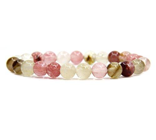 Natural Volcano Cherry Quartz Gemstone 8mm Round Beads Stretch Bracelet 7