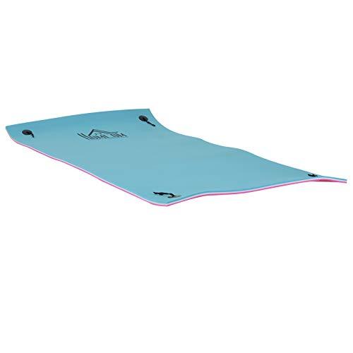 HOMCOM 10' x 5' Foam Floating Water Pad Swim Mat - Blue/White/Red