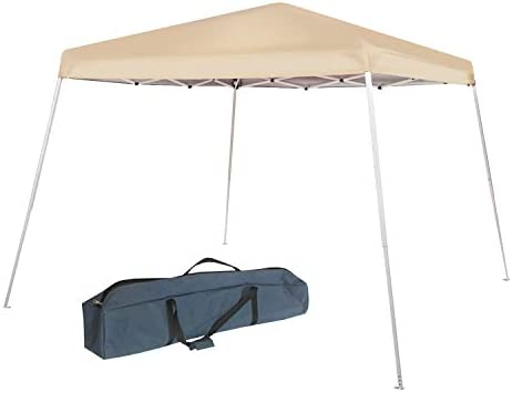 Abba Patio 10 x 10-Feet Slant Leg Instant Easy Pop Up Folding Canopy with Carry Bag, Khaki