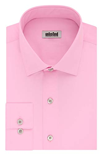 - Kenneth Cole Unlisted Men's Dress Shirt Slim Fit Solid ,  Pink,  14