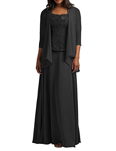 Chiffon Mother of The Bride Dress with Jacket Lace Prom Dress Formal Evening Gowns Long Plus Size Black US 20W