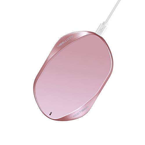 Acctisen Fast Wireless Charger, Qi Certified Ultra-Safe Wireless Charger Pad, Compatible 7.5W iPhone Xs Max/XR/XS/8/8 Plus, 10W Fast-Charging Samsung Galaxy S9/S9+/S8/S8+/S7/S7 Edge More (Rose Gold),