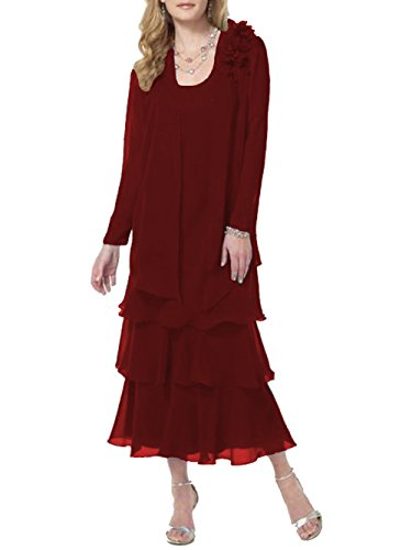 ModeC Tea Length Mother of The Bride Dresses Chiffon Tiered 2 Pcs Formal Gowns Burgundy (Tiered Silk Chiffon Gown)