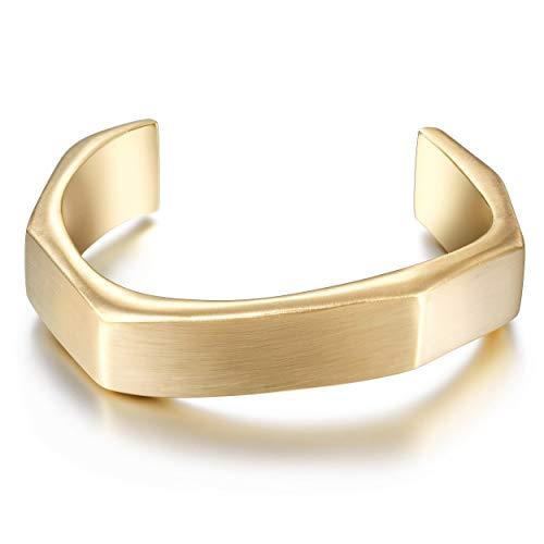 Wistic Gold Cuff Bangle Bracelet Stainless Steel Screw Bar Bracelet for Women Men Girls Boys (Gold 1607(Men))