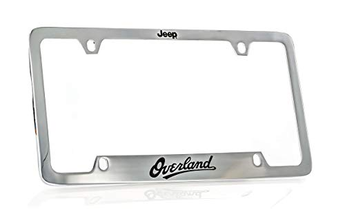 (Jeep Overland Chrome Plated Metal Bottom Engraved Brass License Plate Frame Holder 4 Hole)