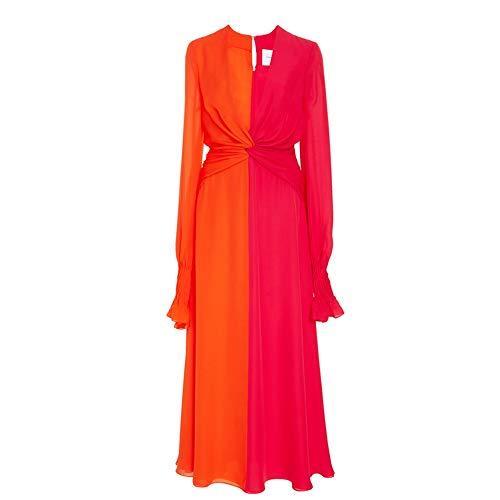 myodress Women's Catwalk Flare Sleeve Deep V Neck Ruffled Hem Twist Knot Keyhole Back Long Maxi Dress Red - Twist Keyhole