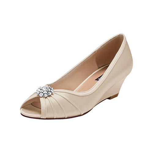 ERIJUNOR E2019A Women Comfortable Low Heel Wedges Peep Toe Wedding Shoes Champagne Size 10