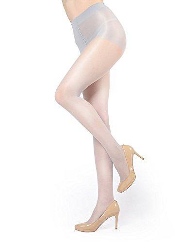 (MeMoi Shimmer Pantyhose | Shimmer Sheer Control Top Stockings Silver MM 211)