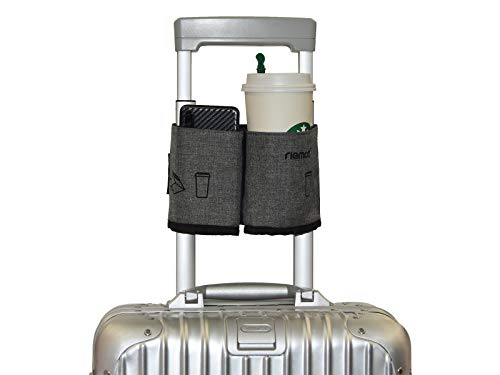 riemot Luggage Travel Cup Holder Free Hand Drink Caddy - Hold Two Coffee Cups - Fits Roll on Suitcase Handles