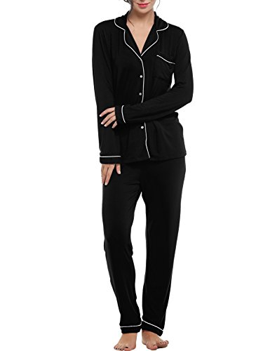 Sweetnight Long Sleeve Pajamas Set for Women Comfy Loungewear Sleepwear with Elastic Waist Pants Pj Set