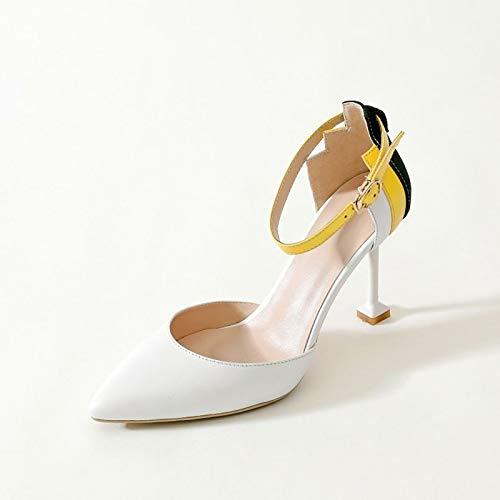 Blanc ZHZNVX Chaussures Femme Nappa Cuir Printemps & Eté Confort Talons Talon Aiguille Blanc Noir 38 EU