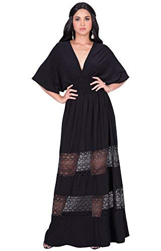 KOH KOH Petite Womens Long Sexy Summer Spring V-Neck Half Short Kimono Sleeve Sundress Lace Flowy Casual Empire Waist Boho Bohemian Tall Beach Elegant Maxi Dress Gown, Black S 4-6 (Black Lace Sleeves Gown)