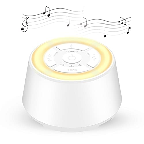 KEBIDU White Noise Machine with Night Light for Sleeping, Portable Sound Machine for Baby Adults Sleep with 9 High Fidelity Sounds, Timer and Memory Function for Home, Nursery, Office, Travel (White)